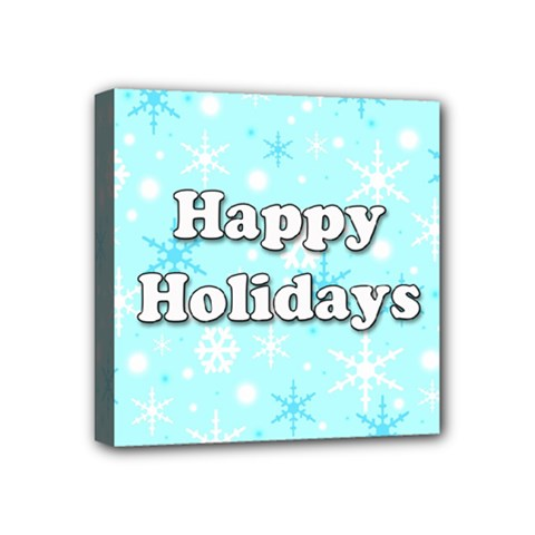 Happy holidays blue pattern Mini Canvas 4  x 4
