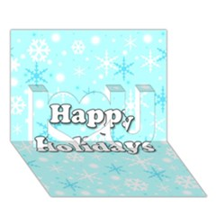 Happy holidays blue pattern I Love You 3D Greeting Card (7x5)