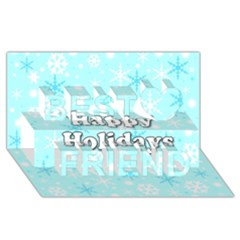Happy holidays blue pattern Best Friends 3D Greeting Card (8x4)