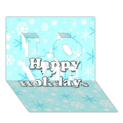 Happy holidays blue pattern LOVE 3D Greeting Card (7x5)