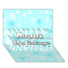 Happy holidays blue pattern YOU ARE INVITED 3D Greeting Card (7x5)