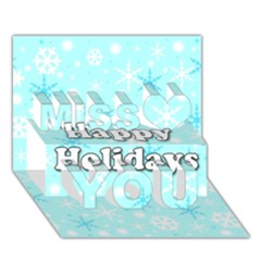 Happy Holidays Blue Pattern Miss You 3d Greeting Card (7x5)