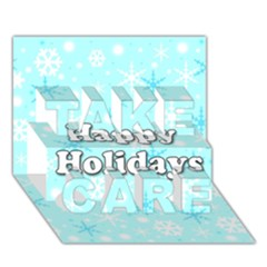 Happy holidays blue pattern TAKE CARE 3D Greeting Card (7x5)