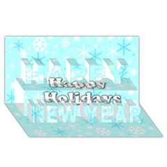 Happy holidays blue pattern Happy New Year 3D Greeting Card (8x4)