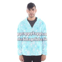 Happy holidays blue pattern Hooded Wind Breaker (Men)