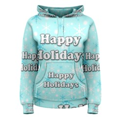 Happy holidays blue pattern Women s Pullover Hoodie