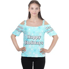 Happy Holidays Blue Pattern Women s Cutout Shoulder Tee