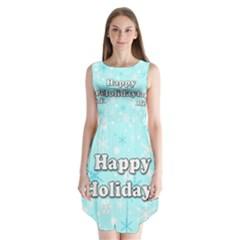 Happy Holidays Blue Pattern Sleeveless Chiffon Dress