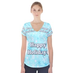 Happy Holidays Blue Pattern Short Sleeve Front Detail Top