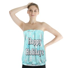 Happy Holidays Blue Pattern Strapless Top
