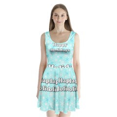 Happy Holidays Blue Pattern Split Back Mini Dress