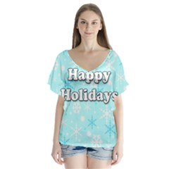 Happy holidays blue pattern Flutter Sleeve Top
