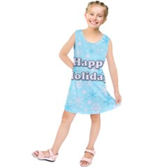 Happy holidays blue pattern Kids  Tunic Dress