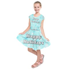 Happy holidays blue pattern Kids  Short Sleeve Dress
