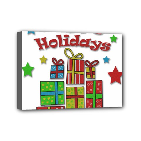 Happy Holidays - gifts and stars Mini Canvas 7  x 5