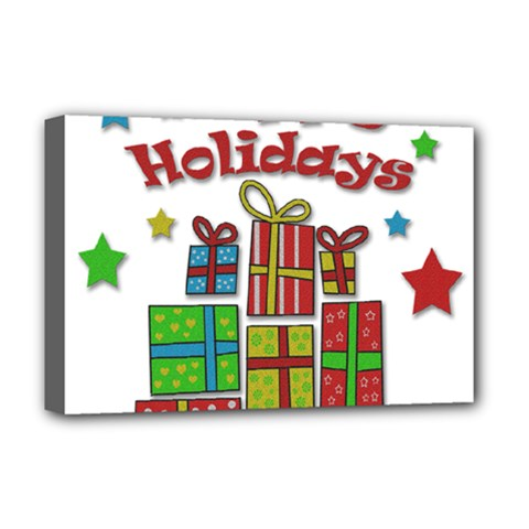 Happy Holidays - gifts and stars Deluxe Canvas 18  x 12