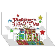 Happy Holidays - gifts and stars Best Friends 3D Greeting Card (8x4)