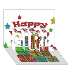 Happy Holidays - gifts and stars GIRL 3D Greeting Card (7x5)
