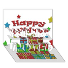 Happy Holidays - gifts and stars YOU ARE INVITED 3D Greeting Card (7x5)