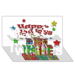Happy Holidays - gifts and stars Best Wish 3D Greeting Card (8x4)