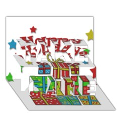 Happy Holidays - gifts and stars TAKE CARE 3D Greeting Card (7x5)