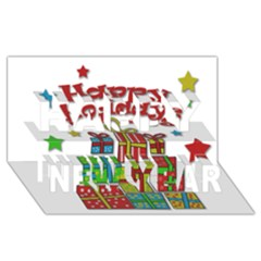 Happy Holidays - gifts and stars Happy New Year 3D Greeting Card (8x4)
