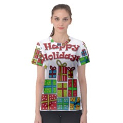 Happy Holidays - gifts and stars Women s Sport Mesh Tee