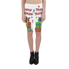 Happy Holidays - gifts and stars Cropped Leggings