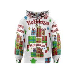 Happy Holidays - gifts and stars Kids  Zipper Hoodie