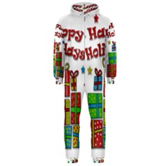 Happy Holidays - gifts and stars Hooded Jumpsuit (Men)