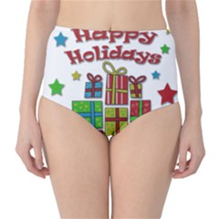 Happy Holidays - gifts and stars High-Waist Bikini Bottoms