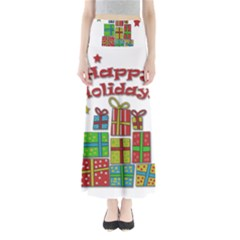 Happy Holidays - gifts and stars Maxi Skirts