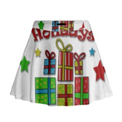 Happy Holidays   Gifts And Stars Mini Flare Skirt