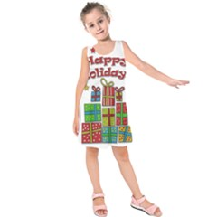 Happy Holidays - gifts and stars Kids  Sleeveless Dress