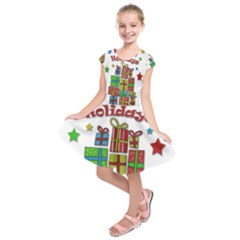 Happy Holidays - gifts and stars Kids  Short Sleeve Dress