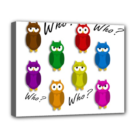 Cute owls - Who? Deluxe Canvas 20  x 16