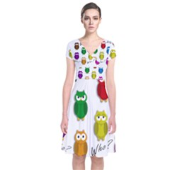 Cute owls - Who? Short Sleeve Front Wrap Dress