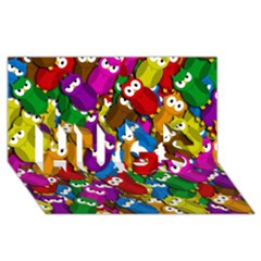 Cute owls mess HUGS 3D Greeting Card (8x4)