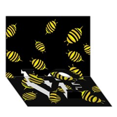 Decorative bees LOVE Bottom 3D Greeting Card (7x5)