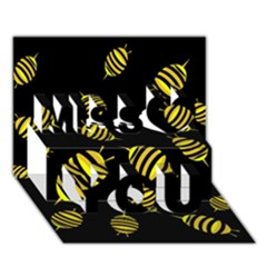 Decorative Bees Miss You 3d Greeting Card (7x5)
