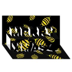 Decorative bees Merry Xmas 3D Greeting Card (8x4)