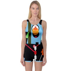 Abstract composition  One Piece Boyleg Swimsuit