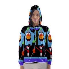 Abstract composition  Hooded Wind Breaker (Women)