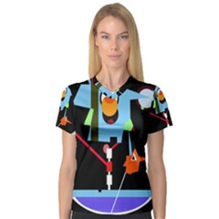 Abstract composition  Women s V-Neck Sport Mesh Tee