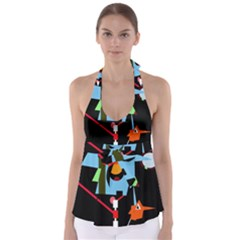 Abstract Composition  Babydoll Tankini Top