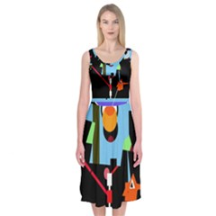 Abstract Composition  Midi Sleeveless Dress