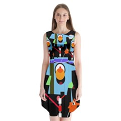 Abstract composition  Sleeveless Chiffon Dress