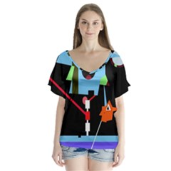 Abstract Composition  Flutter Sleeve Top