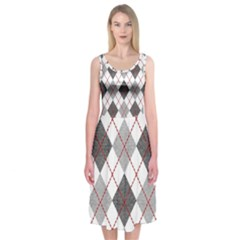 Fabric Texture Argyle Design Grey Midi Sleeveless Dress