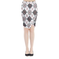 Fabric Texture Argyle Design Grey Midi Wrap Pencil Skirt